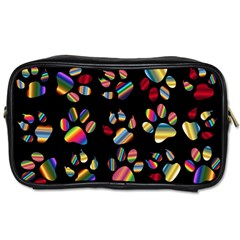 Colorful Paw Prints Pattern Background Reinvigorated Toiletries Bags 2 Side by Nexatart