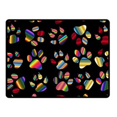 Colorful Paw Prints Pattern Background Reinvigorated Fleece Blanket (small) by Nexatart