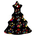 Colorful Paw Prints Pattern Background Reinvigorated Christmas Tree Ornament (Two Sides) Back