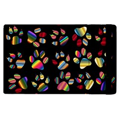Colorful Paw Prints Pattern Background Reinvigorated Apple Ipad 2 Flip Case by Nexatart