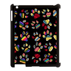 Colorful Paw Prints Pattern Background Reinvigorated Apple Ipad 3/4 Case (black) by Nexatart