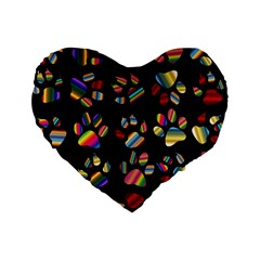 Colorful Paw Prints Pattern Background Reinvigorated Standard 16  Premium Heart Shape Cushions