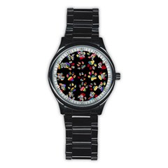 Colorful Paw Prints Pattern Background Reinvigorated Stainless Steel Round Watch by Nexatart