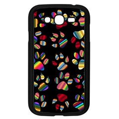 Colorful Paw Prints Pattern Background Reinvigorated Samsung Galaxy Grand Duos I9082 Case (black)