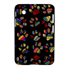 Colorful Paw Prints Pattern Background Reinvigorated Samsung Galaxy Tab 2 (7 ) P3100 Hardshell Case