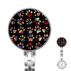Colorful Paw Prints Pattern Background Reinvigorated Stainless Steel Nurses Watch by Nexatart