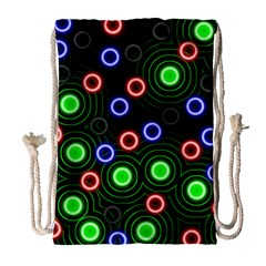 Neons Couleurs Circle Light Green Red Line Drawstring Bag (large) by Mariart