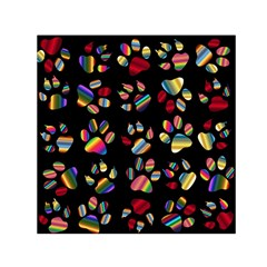 Colorful Paw Prints Pattern Background Reinvigorated Small Satin Scarf (square)