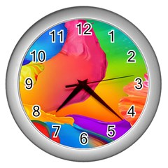 Paint Rainbow Color Blue Red Green Blue Purple Wall Clocks (silver)  by Mariart