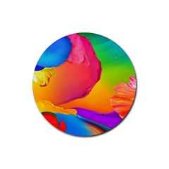 Paint Rainbow Color Blue Red Green Blue Purple Rubber Coaster (round)  by Mariart