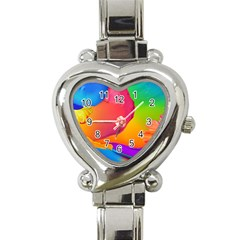 Paint Rainbow Color Blue Red Green Blue Purple Heart Italian Charm Watch by Mariart