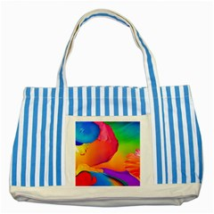 Paint Rainbow Color Blue Red Green Blue Purple Striped Blue Tote Bag by Mariart
