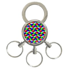Seamless Rgb Isometric Cubes Pattern 3 Ring Key Chains by Nexatart
