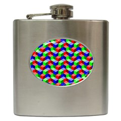 Seamless Rgb Isometric Cubes Pattern Hip Flask (6 Oz) by Nexatart