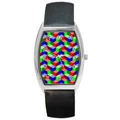 Seamless Rgb Isometric Cubes Pattern Barrel Style Metal Watch by Nexatart