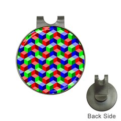 Seamless Rgb Isometric Cubes Pattern Hat Clips With Golf Markers