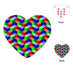 Seamless Rgb Isometric Cubes Pattern Playing Cards (heart)  by Nexatart