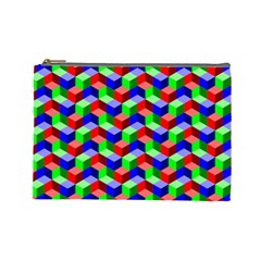Seamless Rgb Isometric Cubes Pattern Cosmetic Bag (large)