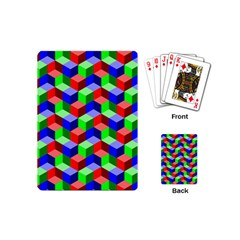 Seamless Rgb Isometric Cubes Pattern Playing Cards (mini)  by Nexatart