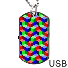 Seamless Rgb Isometric Cubes Pattern Dog Tag Usb Flash (two Sides) by Nexatart