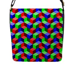 Seamless Rgb Isometric Cubes Pattern Flap Messenger Bag (l)