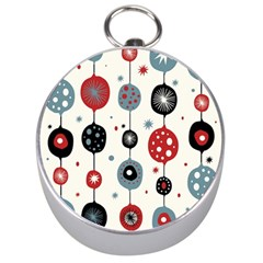 Retro Ornament Pattern Silver Compasses by Nexatart