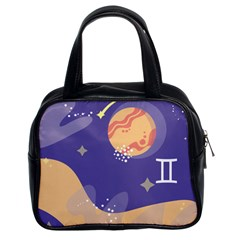 Planet Galaxy Space Star Polka Meteor Moon Blue Sky Circle Classic Handbags (2 Sides) by Mariart