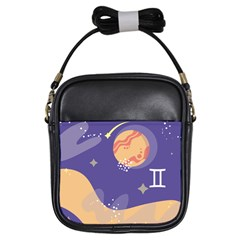 Planet Galaxy Space Star Polka Meteor Moon Blue Sky Circle Girls Sling Bags by Mariart