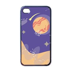 Planet Galaxy Space Star Polka Meteor Moon Blue Sky Circle Apple Iphone 4 Case (black) by Mariart