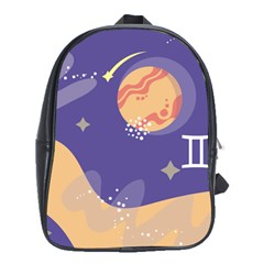 Planet Galaxy Space Star Polka Meteor Moon Blue Sky Circle School Bags (xl)  by Mariart