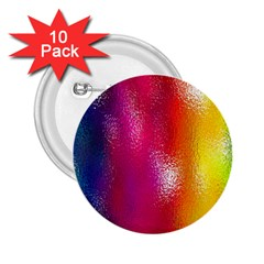 Color Glass Rainbow Green Yellow Gold Pink Purple Red Blue 2 25  Buttons (10 Pack)