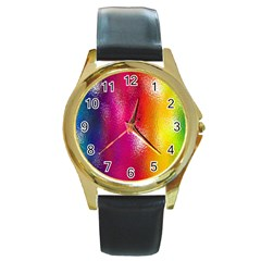 Color Glass Rainbow Green Yellow Gold Pink Purple Red Blue Round Gold Metal Watch by Mariart
