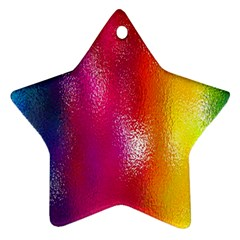 Color Glass Rainbow Green Yellow Gold Pink Purple Red Blue Star Ornament (two Sides) by Mariart