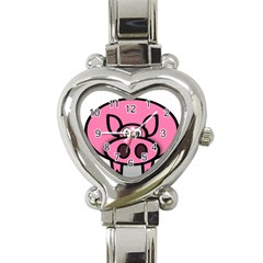 Pork Pig Pink Animals Heart Italian Charm Watch by Mariart