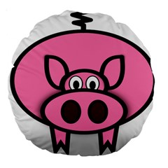 Pork Pig Pink Animals Large 18  Premium Round Cushions by Mariart