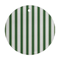 Plaid Line Green Line Vertical Ornament (round)
