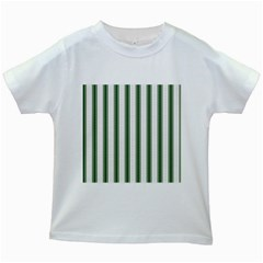 Plaid Line Green Line Vertical Kids White T Shirts