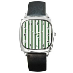 Plaid Line Green Line Vertical Square Metal Watch by Mariart