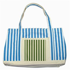 Plaid Line Green Line Vertical Striped Blue Tote Bag by Mariart