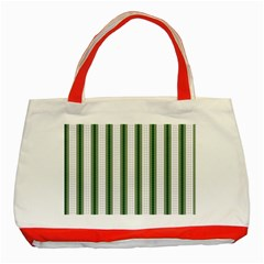 Plaid Line Green Line Vertical Classic Tote Bag (red) by Mariart