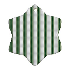 Plaid Line Green Line Vertical Snowflake Ornament (two Sides)