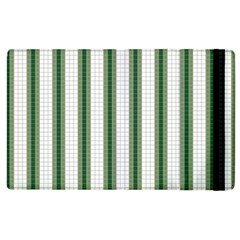 Plaid Line Green Line Vertical Apple Ipad 3/4 Flip Case by Mariart