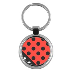 Red Black Hole White Line Wave Chevron Polka Circle Key Chains (round)  by Mariart