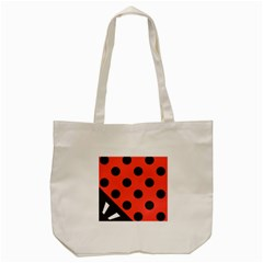 Red Black Hole White Line Wave Chevron Polka Circle Tote Bag (cream) by Mariart
