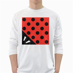 Red Black Hole White Line Wave Chevron Polka Circle White Long Sleeve T-shirts by Mariart