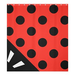 Red Black Hole White Line Wave Chevron Polka Circle Shower Curtain 66  X 72  (large)  by Mariart