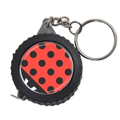 Red Black Hole White Line Wave Chevron Polka Circle Measuring Tapes by Mariart