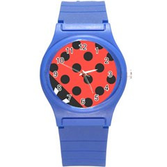 Red Black Hole White Line Wave Chevron Polka Circle Round Plastic Sport Watch (s) by Mariart