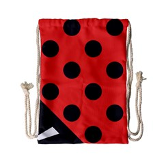 Red Black Hole White Line Wave Chevron Polka Circle Drawstring Bag (small) by Mariart