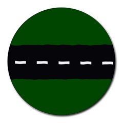 Road Street Green Black White Line Round Mousepads